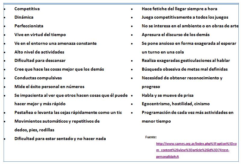 características de la personalidad tipo A
