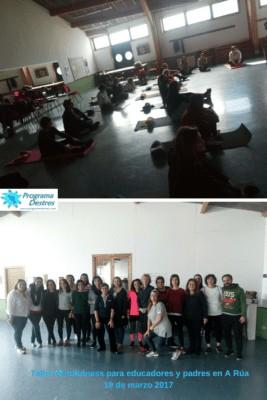 fotos del taller de Mindfulness para educadores y padres en A Rúa